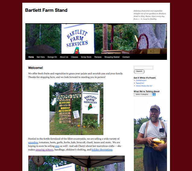 Bartlett Farm Stand Home Page -- website by Honey Bee Buzz Marketing