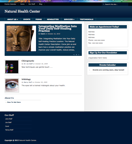 Natural Health Center Website Image